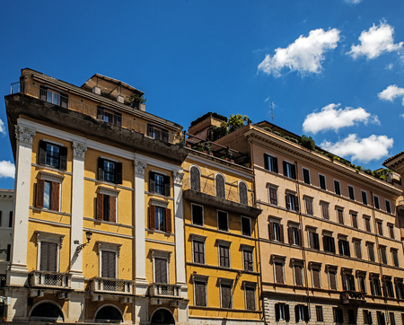 Facades of the tenements in Piazza di Spagna (Spanish Square), Rome, Italy