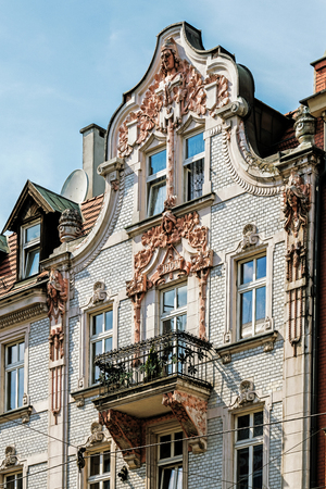 Facade of a beautiful Art Noveau tenement in Katowice, Silesia region, Poland. Stock Photo