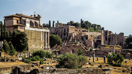 The ruins of the Forum Romanum in Rome, Italy