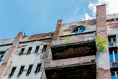 Dilapidated tenement built in the style of Functionalism in Katowice, Silesia region, Poland.