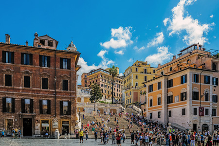 ROME – AUGUST 11, 2017: The Spanish Steps, the monumental stairway of 135 steps designed by architects Francesco de Sanctis and Alessandro Specchi links Piazza di Spagna with Piazza Trinita dei Monti. Editorial