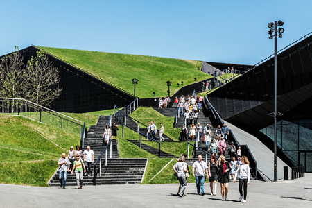 KATOWICE, POLAND - MAY 28, 2017: Fragment of a green passage across the roof of recently launched modern complex, The International Conference Centre. Official opening took place in April 20, 2015.