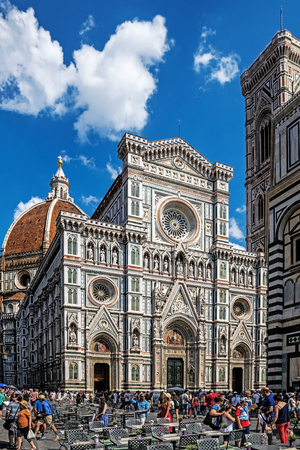 FLORENCE, ITALY – AUGUST 07, 2017: Cattedrale di Santa Maria del Fiore (Cathedral of Saint Mary of the Flower), begun in 1296  and completed in 1436 with the dome engineered by Filippo Brunelleschi. Editorial