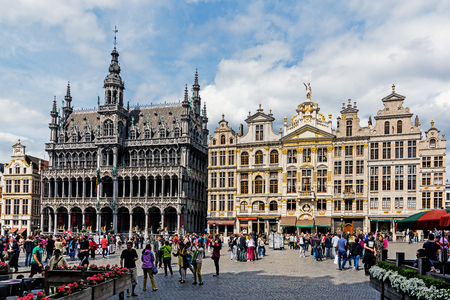 BRUSSELS – JUNE 16, 2017: Scenes from the Grand Place, UNESCO World Heritage Site and main attraction of the city, full of tourists 24 hours a day. Editorial