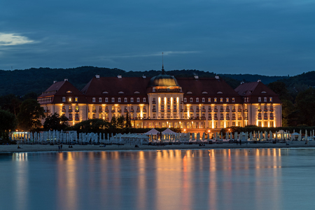 SOPOT, POLAND – JULY 7, 2017: Five stars Sofitel Grand Sopot. Stylish hotel, built in 1927 in Art Noveau and neo-baroque style, remains one of the most recognizable landmarks of the resort. Editorial