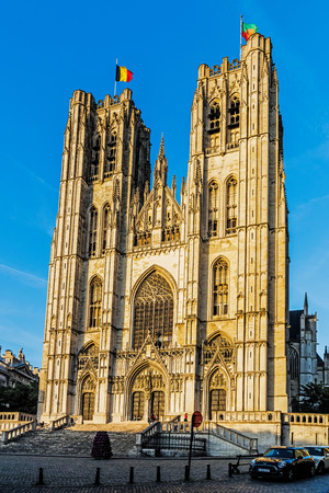 BRUSSELS – JUNE 16, 2017: The St. Michael and Gudula Cathedral in Brussels. Beautiful church, built in the Gothic style serves as the co-cathedral of the Archdiocese of Mechelen-Brussels. Editorial