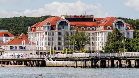 SOPOT, POLAND – JULY 9, 2017: Five stars luxurious Sheraton Sopot, part of the Starwood Hotels & Resorts chain, built in 2008. Modern design of the hotel refers to the local architectural tradition.
