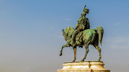 Equestrian statue of Victor Emmanuel II, the first king of unified Italy, part of the Altare della Patria, a monument built in honor of him, built in the years 1885-1925.