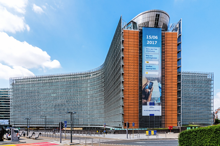 BRUSSELS - JUNE 17, 2017: The Berlaymont office building – seat of the headquarters of the European Commission, the executive of the European Union. 新闻类图片