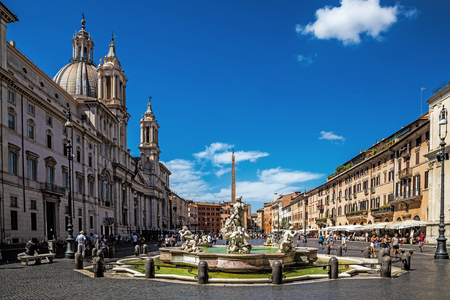 ROME – AUGUST 11, 2017: Piazza Navona, a square built on the site of the antique Stadium of Domitian of the 1st century. The current appearance is dominated by Baroque Roman architecture and art.