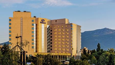 SOFIA, BULGARIA – MAY 31, 2017: Hilton Sofia, a five-star hotel with 245 rooms, designed by of the Parisian studio