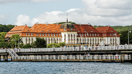SOPOT, POLAND – JULY 9, 2017: Five stars Sofitel Grand Sopot. Stylish hotel, built in 1927 in Art Noveau and neo-baroque style, remains one of the most recognizable landmarks of the resort. Editorial