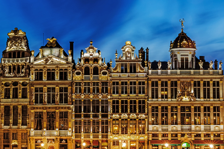 BRUSSELS – JUNE 15, 2017: Guildhalls in the Grand Place, place is UNESCO World Heritage Site and main attraction of the city, full of tourists 24 hours a day.