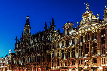 BRUSSELS – JUNE 16, 2017: Kings House (Maison de Roi) in the Grand Place. The Grand Place is the UNESCO World Heritage Site and remains a main attraction of the city, full of tourists 24 hours a day.