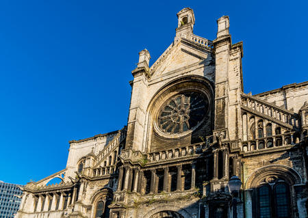 BRUSSELS – JUNE 15, 2017: Saint Catherines Church combining few architectural styles. Built in the 15th century but completely redesigned between 1854 and 1859 by the famous artist Joseph Poelaert. Editorial