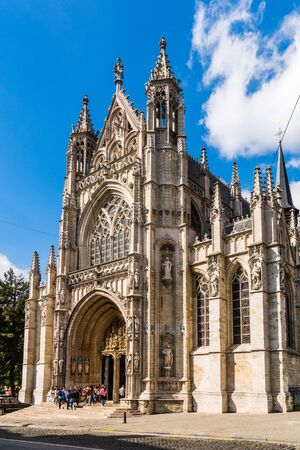 BRUSSELS – JUNE 17, 2017:  Church of Our Blessed Lady of the Sablon built in the late Brabantine Gothic style in the 15th century, has a rich interior decoration including two Baroque chapels.