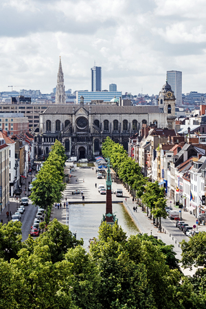 BRUSSELS – JUNE 16, 2017:  Panoramic view of the City of Brussels. Brussels is the capital of Belgium and the seat of the authorities of the European Community.