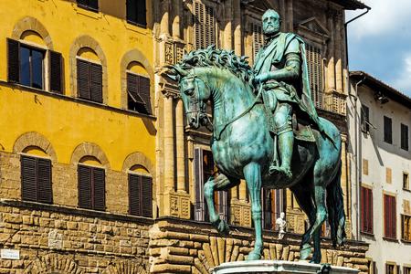 FLORENCE, ITALY – AUGUST 7, 2017: Monument to Cosimo di Giovanni de Medici (1389 – 1464) in Piazza Della Signoria, an Italian banker and politician, the first of the Medici political dynasty. Editorial