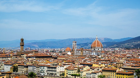 FLORENCE, ITALY – AUGUST 8, 2017: Cityscape of Florence , the capital city of the Tuscany region. The city is considered the birthplace of the Renaissance and called Editorial