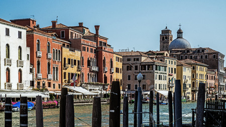 VENICE – AUGUST 5, 2017: Cityscape of Venice, one of the most interesting and unique cities in the world built entirely on water, home to many impressive monuments, the worlds only pedestrian city.