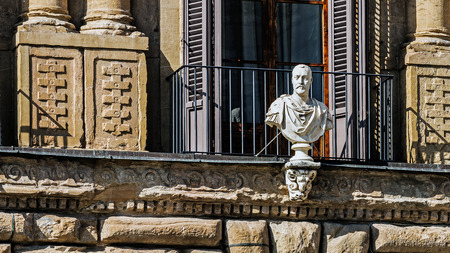 FLORENCE, ITALY – AUGUST 7, 2017: Bust of Cosimo di Giovanni de Medici (1389 – 1464) in Piazza Della Signoria, an Italian banker and politician, the first of the Medici political dynasty.