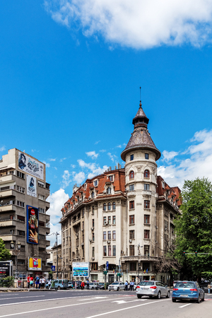 BUCHAREST, ROMANIA - MAY 14, 2017: Scenes from the downtown of Bucharest, capital and largest city of Romania and its cultural, industrial and financial centre located on the Dambovita River. Editorial