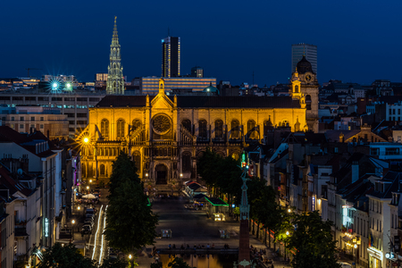 BRUSSELS – JUNE 17, 2017:  Panoramic night view of the City of Brussels. Brussels is the capital of Belgium and the seat of the authorities of the European Community.
