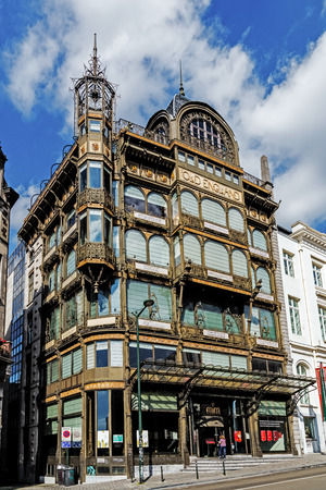 BRUSSELS - JUNE 17, 2017: MIM - Musical Instruments Museum located in a beautiful Art Noveau building. The collection presents more than 1100 historical and modern musical instruments. Editorial