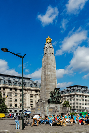 BRUSSELS - JUNE 17, 2017: The Infantry Memorial of Brusselss in front of the Palace of Justice commemorating infantry soldiers who fought in World Wars I and II, designed by Edouard Vereycken.