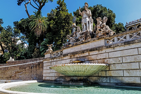 ROME – AUGUST 11, 2017: The Fountain of Neptune on the west side of the Piazza del Popolo. In the center Romulus and Remus suckled by a she-wolf, the scene being a symbol of the city of Rome.