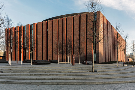 KATOWICE, POLAND – DECEMBER 10, 2017: New seat of Polish National Radio Symphony Orchestra in Katowice. The orchestra founded in 1935 is one of Polands premier musical institutions.