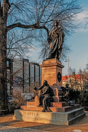 The monument to Felix Mendelssohn-Bartholdy next to the St. Thomas church in Leipzig, Germany.