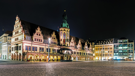 LEIPZIG, GERMANY - FEBRUARY 8, 2018:   Night view of The Old Town Hall and the Market Place. The Old Town Hall was built in 1556, houses a museum of the citys history, also used for cultural events.