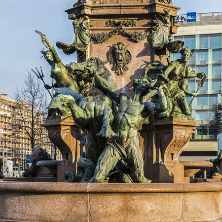LEIPZIG, GERMANY - FEBRUARY 7, 2018: The Mende Fountain at Augustus Square, the largest fountain in town built by Adolf Gnauth in 1886, named after Pauline Mende, a townswoman who donated the project. Editorial