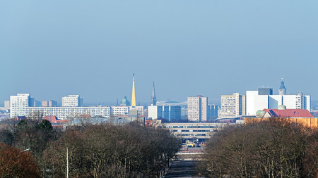 LEIPZIG, GERMANY - FEBRUARY 7, 2018: Panoramic view of Leipzig, the city of high cultural and economic importance, full of monuments and memorabilia from great Germans as Bach, Goethe and others. Editorial