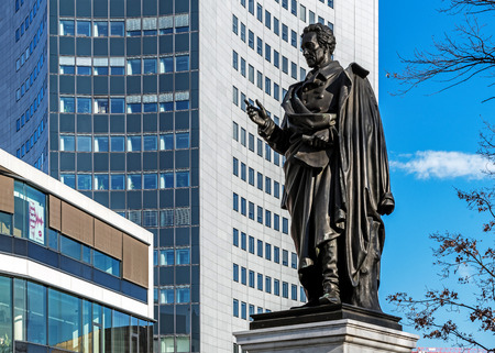 LEIPZIG, GERMANY - FEBRUARY 6, 2018: Monument to Albrecht Thaer (1752-1828), German agronomist, supporter of the humus theory for plant nutrition described in his book The Principles of Agriculture.