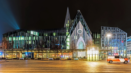 LEIPZIG, GERMANY - FEBRUARY 8, 2018: Leipzig University, one of the worlds oldest universities and the second-oldest in Germany, founded in 1409. The building reached its current shape in 2002. Editorial