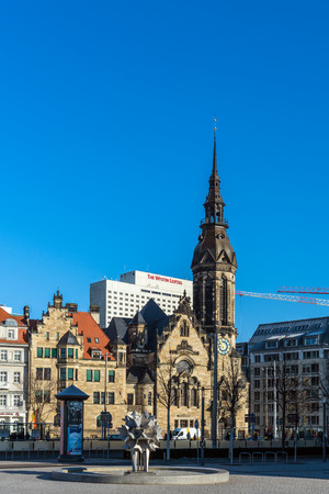 LEIPZIG, GERMANY - FEBRUARY 6, 2018: Cityscape of Leipzig, the city of high cultural and economic importance, full of monuments and memorabilia from great Germans as Bach, Goethe and others.