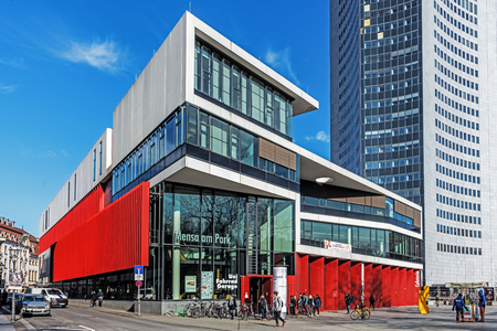 LEIPZIG, GERMANY - FEBRUARY 6, 2018: Mensa am Park, the student restaurant in the heart of the city, the largest and most important facility of Student Union Leipzig, serves up to 6500 meals daily.