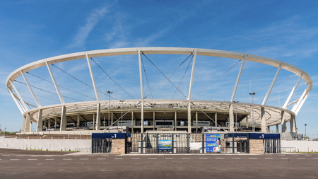 CHORZOW, POLAND –  APRIL 22, 2018: Silesian Stadium with a capacity of 55211 re-opened in October 2017 after 8 years of renovations. Delays were caused by flaws discovered while mounting up the roof.
