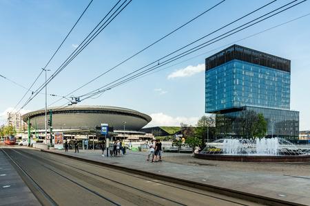 KATOWICE, POLAND – APRIL 21, 2018: Cityscape of Katowice, city in southwestern Poland, center of the Silesian Metropolis. The metropolitan area is the 16th most economically powerful city in the EU. Editorial