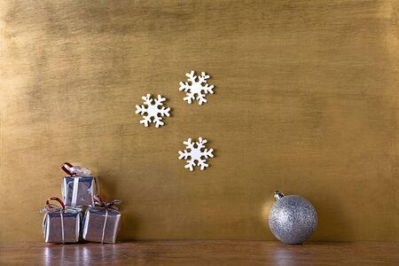 christmas snow: christmas card gold background Stock Photo