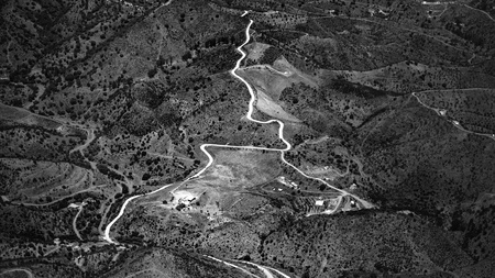 Black and White aerial view of countryside in Andalusia, Spain