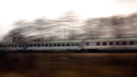 The train view with camera shake and panning technique. Stock Photo