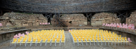 Panoramic view of Modern chairs in ancient theater.  Ohrid, Macedonia