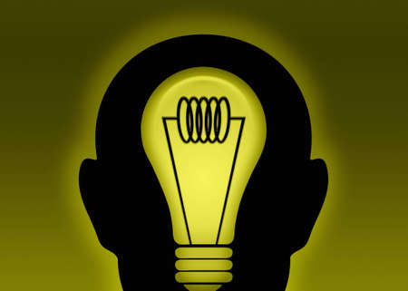 An illustration of coming up with a bright idea illustration