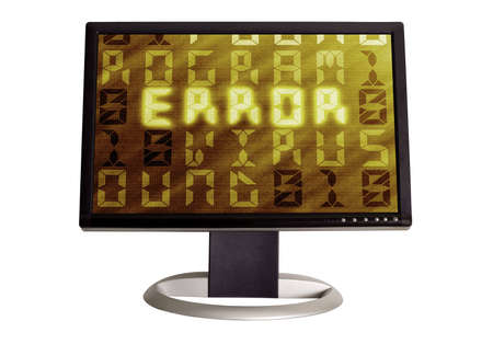 A wide screen LCD monitor on a white background  displaying a error screen with a computer virus