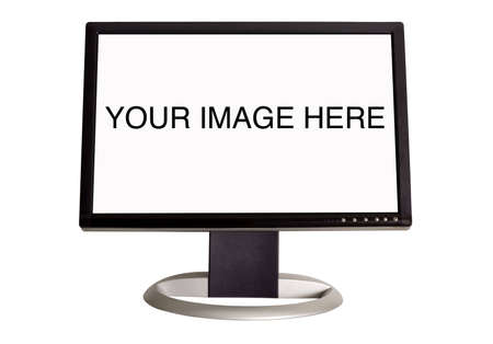 A wide screen LCD monitor on a white background -add your own image or text