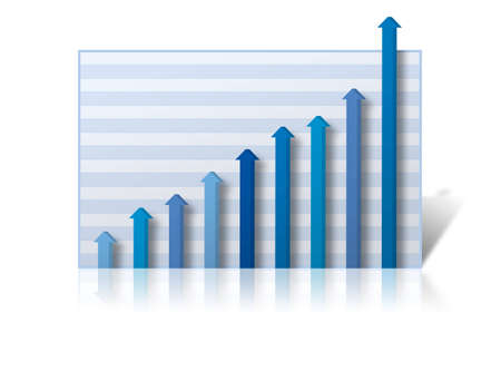 Business Graph with profits rising off the chart. Graph on a white reflective background Фото со стока