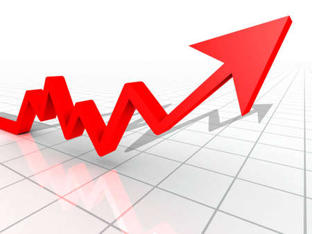 Business Graph with arrow showing profits and gains on a white reflective background